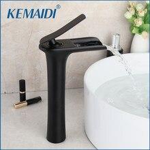 Kemaidi preto fosco torneira da bacia do banheiro montado navio pias cachoeira torneira misturadora de água preta