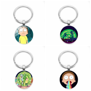 2019 Children's Jewelry Ornaments Rick and Morty Logo Glass Cabochon Pendant Keychain Jewelry Kids Gifts rick and morty action figure collection model toy q vision keyring pendant rick and morty bobble head q edition keychain toys