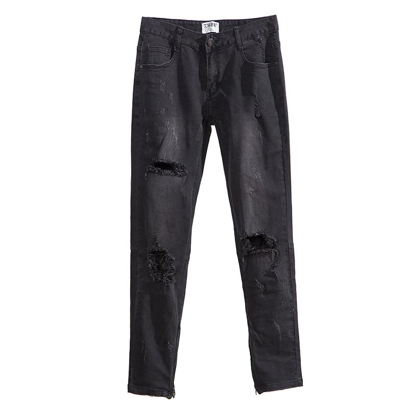 Брюки с молнией на коленях, джинсы с большими дырками, джинсы в стиле хип-хоп, трендовые Мужские штаны в стиле high street wind wild