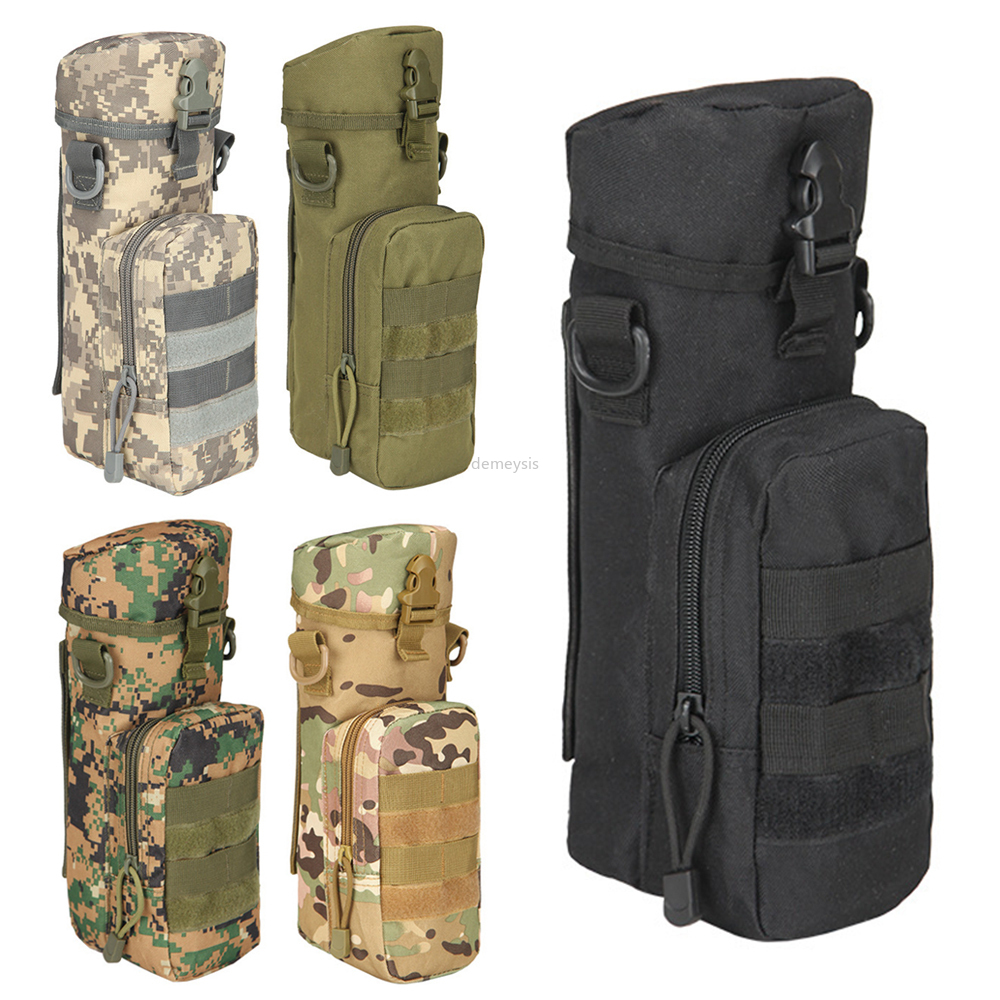 Tactical Molle Water Bottle Pouch Nylon Outdoor Military Travel Kettle Bag with Shoulder Strap
