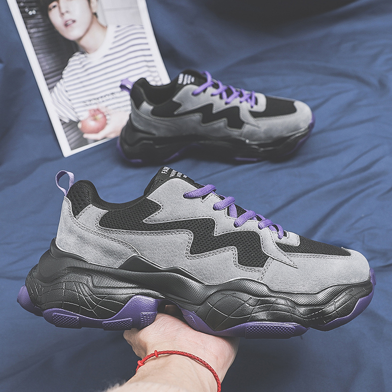 Men Chunky Sneakers Black Purple Casual Dad Shoes For Male Mesh Breathable Lace-up Thick Sole Men Casual Shoes 1806m