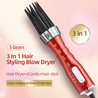 New 3 in1 Electric Hair Curler Hair Dryer Ionic Flat Iron Fast Heated Comb Hair Styling Brush Comb Volumizer Hot Air Brush Hair 1