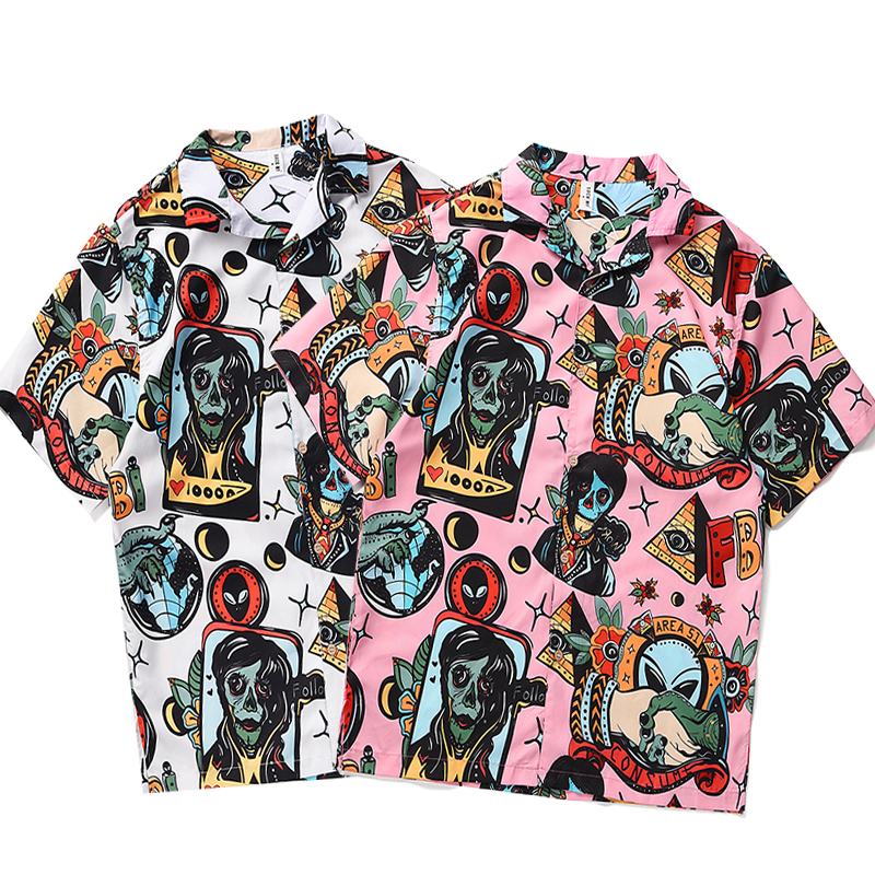 Men's Shirt Short Sleeve Men's Hawaii Short Sleeve Loose Large Size Inch Shirt Men's Printed Casual Men's Shirt Men's Shirt