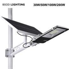Bsod led luzes solares ip65 à prova d20 água 20w 30 50 100 150 200 led luz de rua lâmpada solar fora do projetor solar