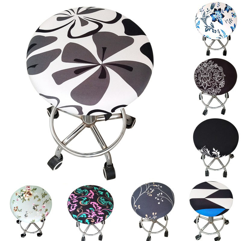 2020 Round Chair Cover Bar Stool Cover Elastic Seat Cover Home Chair Slipcover Round Chair Bar Stool Floral Printed