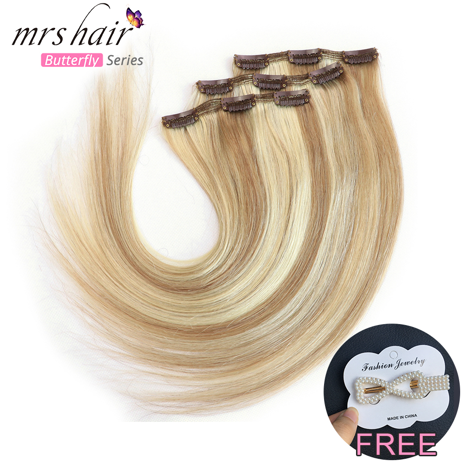 MRSHAIR Clip In Human Hair Extensions 3 Clips 3pcs/lot Remy Straight Hair Black Brown Blonde Double Weft 16 18 20 22 Inch
