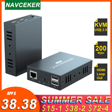 2021 200m HDMI USB 익스텐더 RJ45 IP 네트워크 KVM Over IP 익스텐더 Cat5 Cat5e Cat6 1080P HDMI KVM 익스텐더 TX UTP/STP 포트