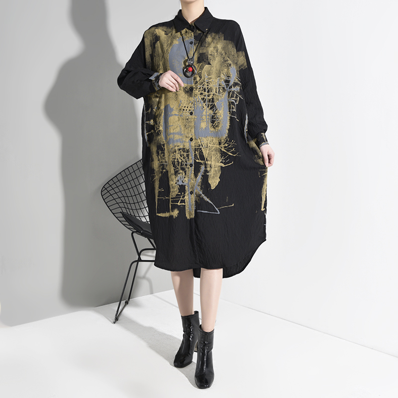 [EAM] женское черное платье-рубашка с принтом и разрезом большого размера, новинка, с отворотом, с длинным рукавом, свободное, модное, весна-осе...