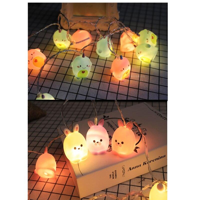 Kawaii Christmas 5M Unicorn Light String Rabbit Battery USB Kid Night Light Holiday Party Bedroom Nursery Fairy Lights Wedding