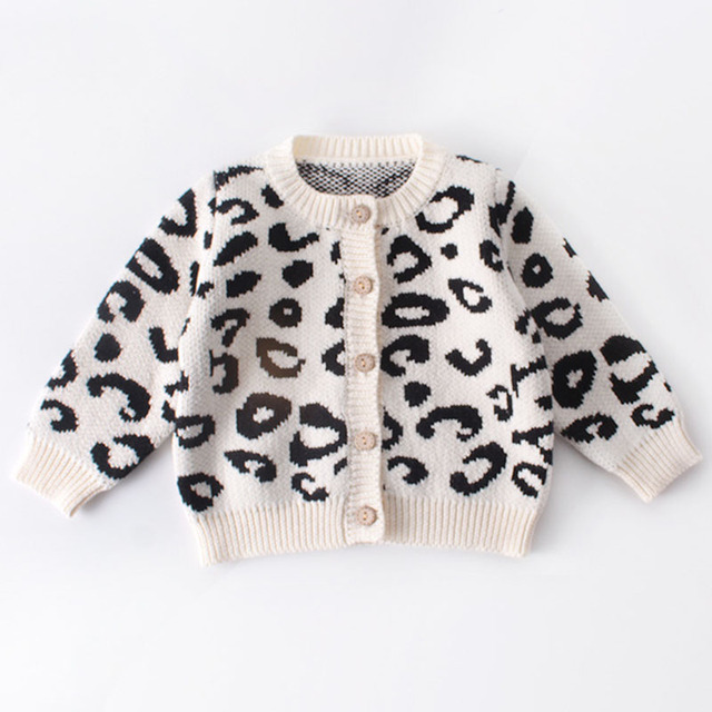 2019 New Pattern Baby Jumpsuit Girl Spring And Autumn Sweater Leopard Print Jacket+Leopard Print Jumpsuit Two Piece Suit 2