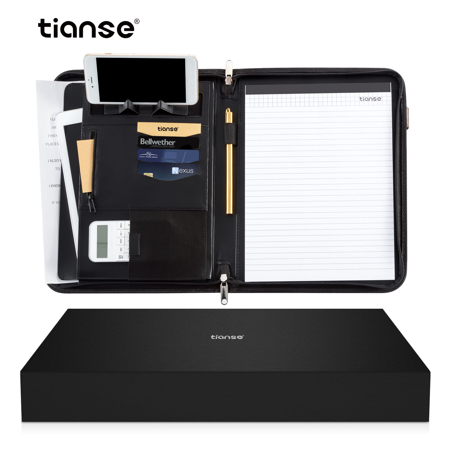 TIANSE  A4 PU Leather Binder File Folder With Calculator Office Document Organizer Briefcase Padfolio Manager Bags Document Pads