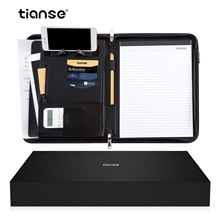 TIANSE  A4 PU Leather Binder File Folder with Calculator Office Document Organizer Briefcase Padfolio Manager Bags Document Pads pu leather a4 padfolio multifunctional business folder tablet document file zipper manager holder organizer with calculator