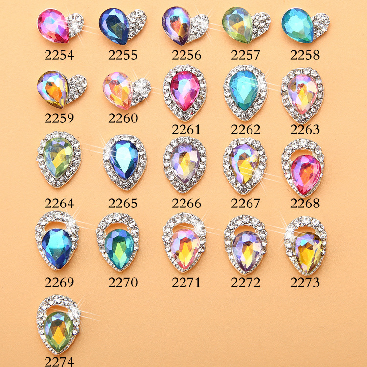 Nail Ornament AB Colorful Blueray Symphony Drilling Water Droplet Heterosexual Drilling Japanese-style Alloy Nail Sticker Man-ma