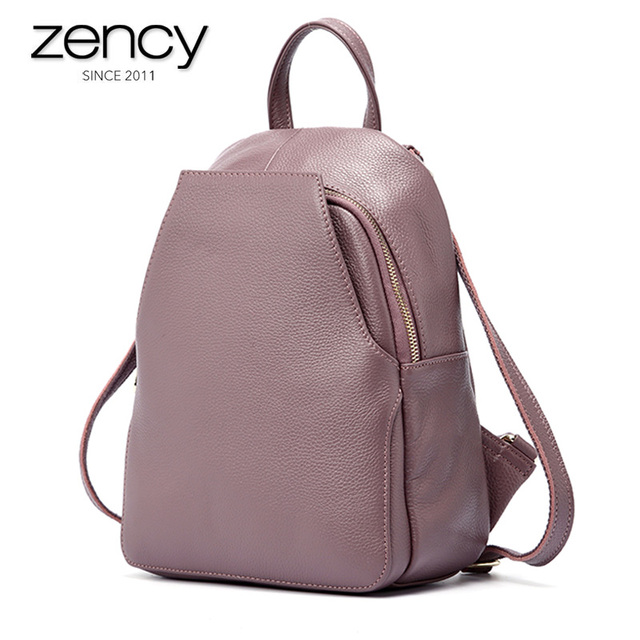 Zency Womens Genuine Leather Backpacks Ladies Fashion Travel Bags Femal Daily Holiday Knapsack Preppy Style Girls Schoolbag