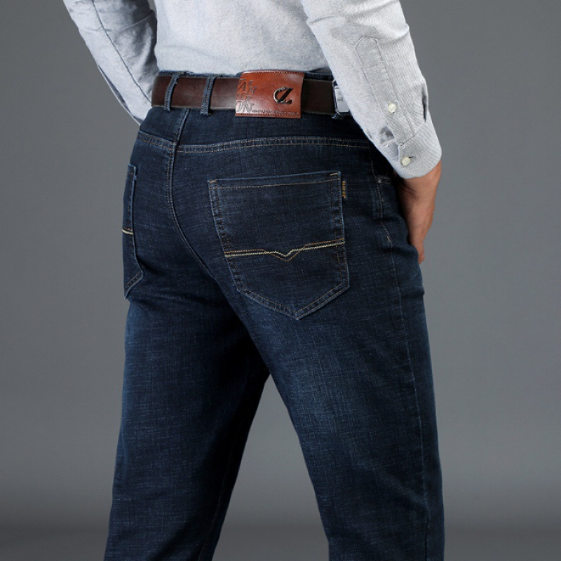 Jeans Men's Loose Straight Middle-aged Large Size Dark Blue MEN'S Trousers Autumn New Style Elasticity Versatile Pants