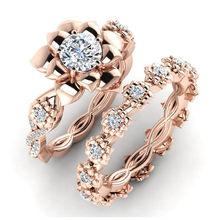 FDLK 2020 najnowszy projekt Rose inkrustowane złotem AAA biały cyrkon sztuczne kwiaty pierścionek księżniczki zestaw Bridal zaręczyny biżuteria ślubna