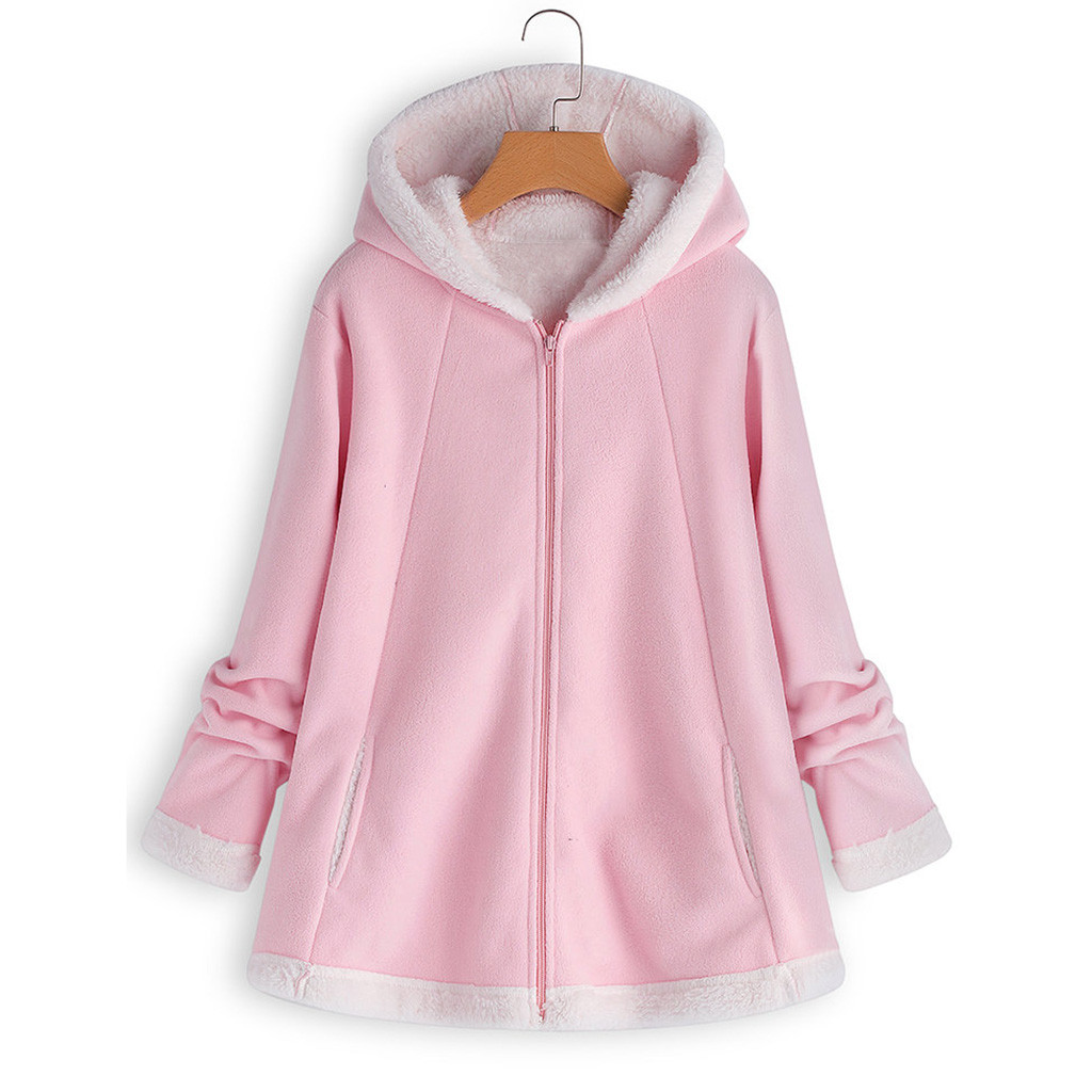 H2e282170d9ae4211859279b1c156ed1cN women's autumn jacket Winter warm solid Plush Hoodie Coat Fashion Pocket Zipper Long Sleeves outwear manteau femme plus size 5XL