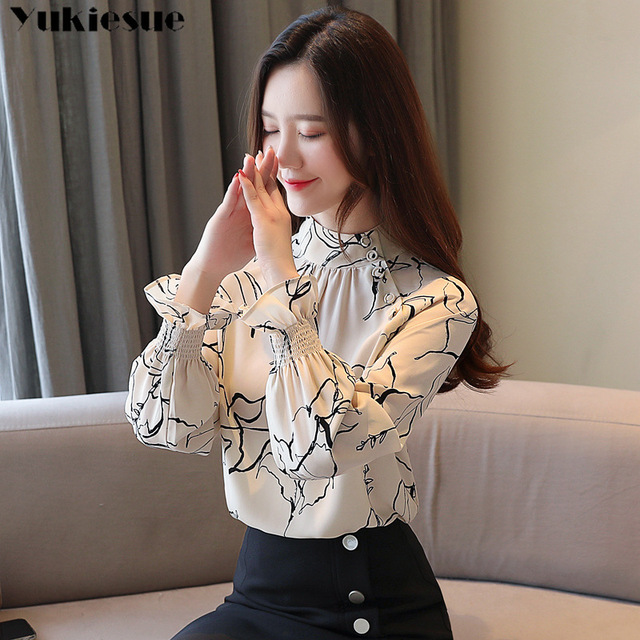 long sleeve OL office summer women's shirt blouse for women blusas womens tops and blouses chiffon shirts ladie's top plus size 2