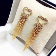 Europe&America Fashion Punk Exaggerate Long Tassel Drop Earrings For Women Chic Gold Silver Crystal Heart Dangle Earring Bijoux
