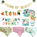 Hawaii Party Banner Flamingo Tableware Summer Tropical Birthday Party decoration Hawaiian Party Decor Luau Aloha Party Supplies