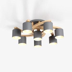 Image 4 - Madeira nórdica E27 Lâmpada Do Teto Simples Arte de Ferro Luz de Teto Quarto Sala lustre de Jantar Cozinha & Bar luzes de teto avize