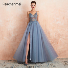 Long Robe De Soiree Prom Dress Formal Party Gown 2019 Sexy Side Slit Backless Formal Party Gowns vestidos de fiesta de noche 2019 women chiffon prom dresses off shoulder formal party gowns vestidos de fiesta de noche