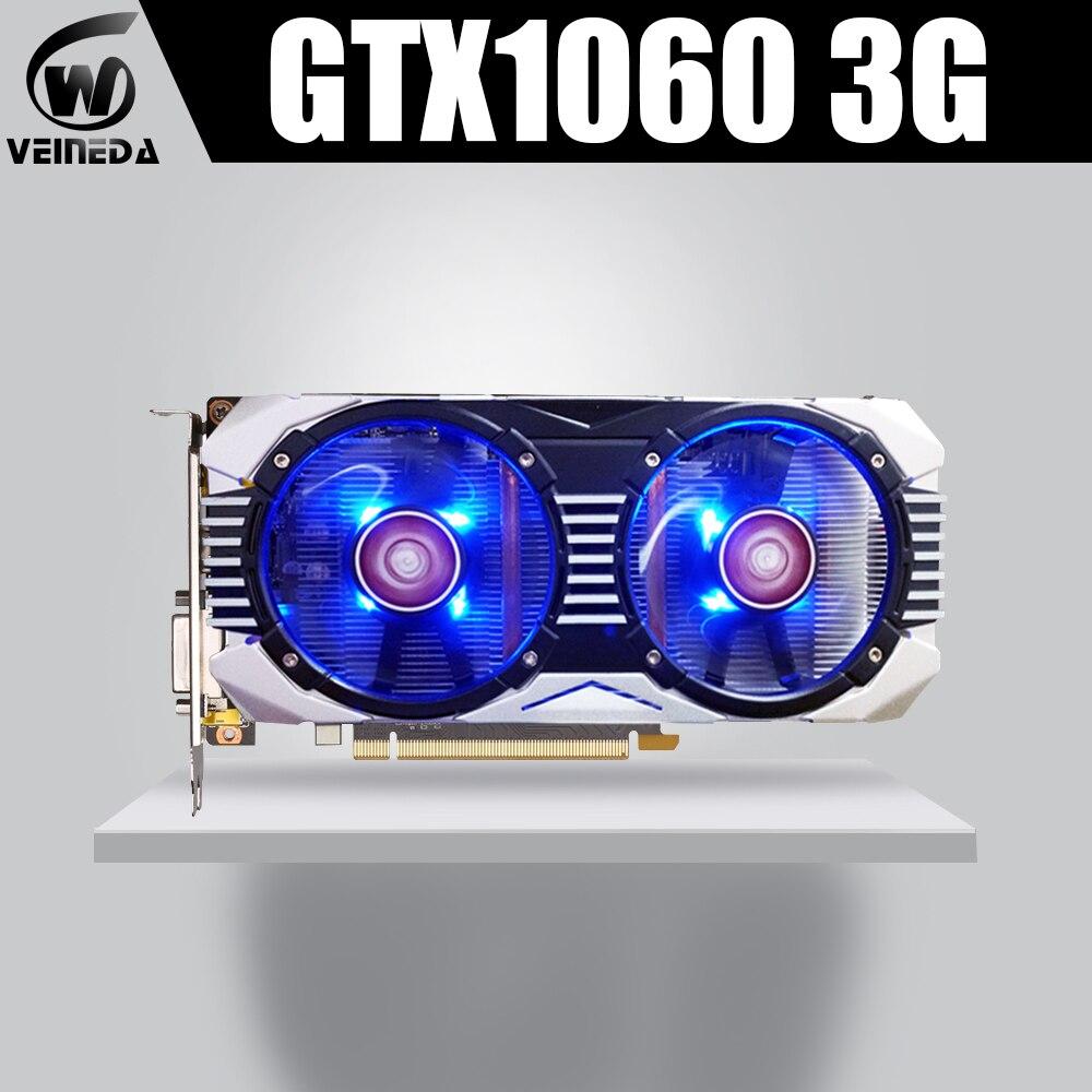 VEINEDA Video Card GTX 1060 3GB 192Bit GDDR5 Graphics Cards Map For nVIDIA Gefore Series Games Stronger than GTX 1050Ti Hdmi Dvi