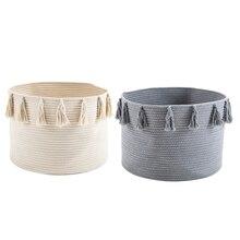 2 Pcs Cotton Rope Braided Tassel Storage Basket Room Sundries Storage Basket Baby Diaper Storage Box, Beige & Gray