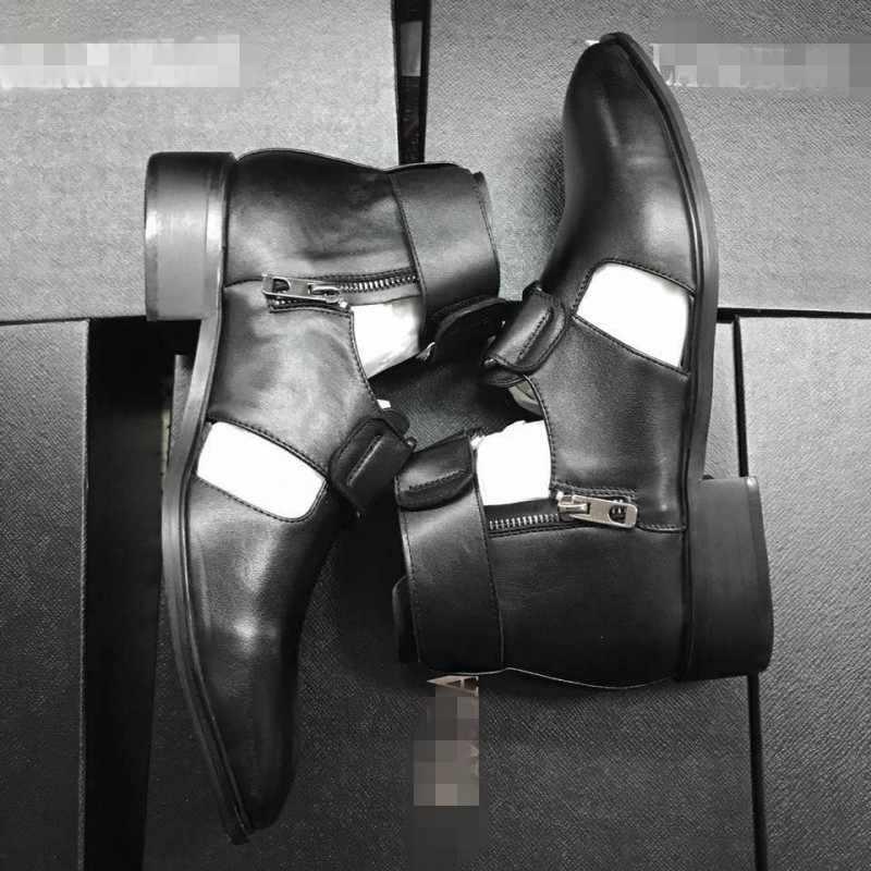 Yaz içi boş ayakkabı erkekler kişilik İtalyan deri gladyatör sandalet tasarımcı pist toka Zip ayak bileği elbise çizmeler Sandalias