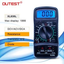 Outest multímetro digital tensão atual resistência transistor hfe lcd multimetro multimetro medidor digital multimetro