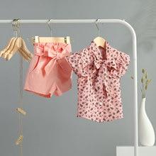 Toddler Baby Girls Clothes 2PCS Summer 2021 Floral Printed Ruffles Bowknot Sleeveless Tops + High Waist Shorts Outfit Sets