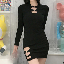 High Street Sexy Ladies Dresses Spring Autumn The New Fashion Hipster Simple Thin Best Sellers Hollow Out Round Neck