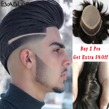 EVAGLOSS Male Wigs Swiss Lace Front Silk Base Toupee Mens Natural Remy Human Hair Bleached Knots Male Hair Prosthesis bymc dark brown mens toupee suitable natural mongolia remy hair swiss lace with pu men toupee prosthesis hair pieces hair