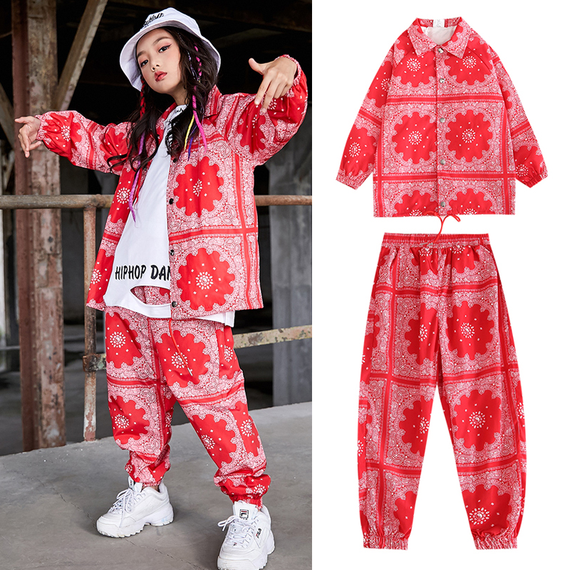 New Hip Hop Girls Jazz Hip Hop Dance Costumes Kids Red Shirt Hiphop Pants Rave Clothes Ballroom Dance Dress Stage Outfits DQS335