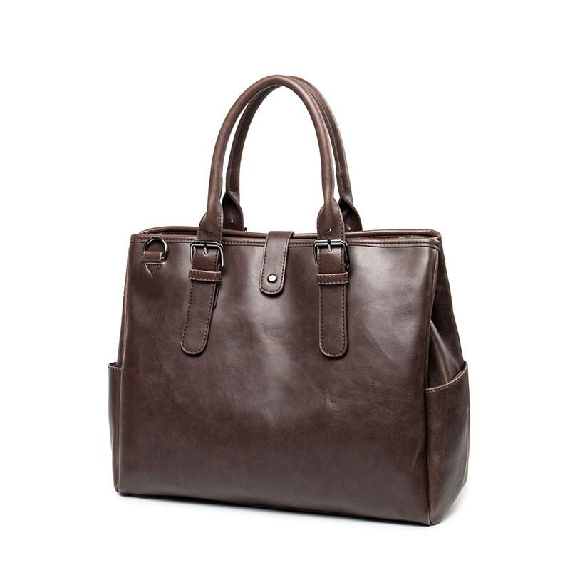 Leather Mens Briefcase Fashion Large Capacity Business bag Black Male Shoulder Laptop Bag Men