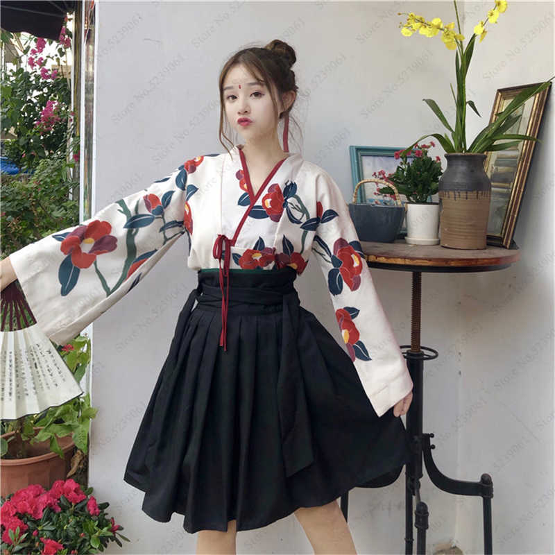 Japanese Style Kimono Yukata Robes Girls Haori Obi Long Sleeve Party Dresses Women Samurai Tops Floral Printed Robes Anime Skirt