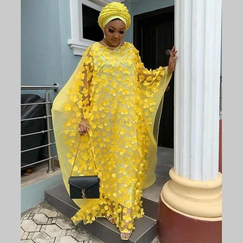 אפריקאי שמלות לנשים 2019 חדש סגנון אפריקאי בגדי Bazin אופנה תחרה פרחוני Boubou חלוק Africain דאשיקי מסיבת ארוך שמלה