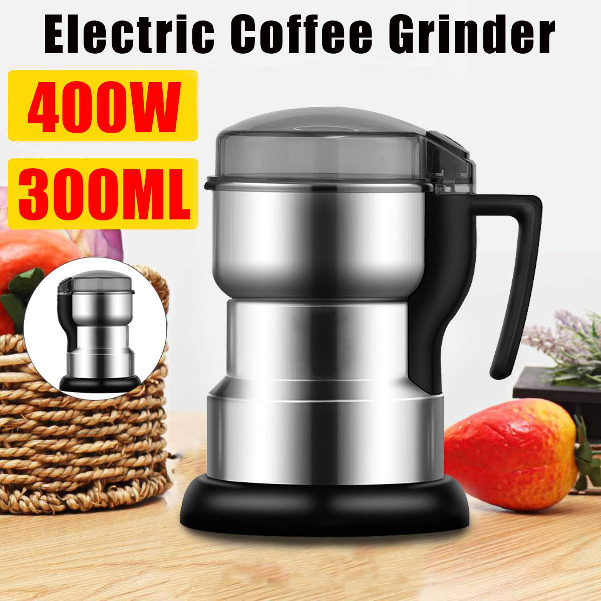 Multifunctional Home Coffe Grinder Machine Kitchen Cereals Nuts Beans Spices Grains Grinding Machine Electric Coffee Grinder