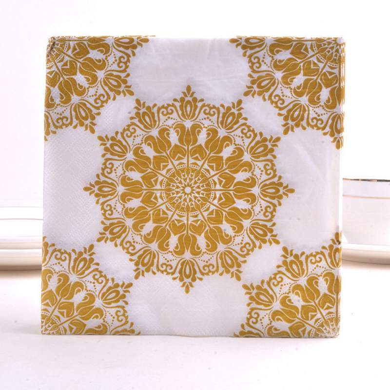 Birthday Hot Gold Paper Towel Napkin For Boy Girl Gender Reveal Party Tissue Napkin Decoration Serviettes