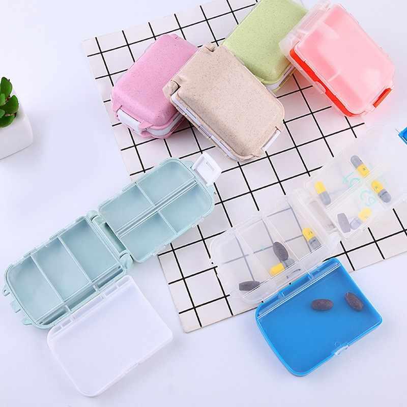 Kawaii Kotak Obat Mini Vitamin Pill Tablet Case Organizer Perjalanan Kotak Penyimpanan Obat Folca Case 8 Kisi Permen Case