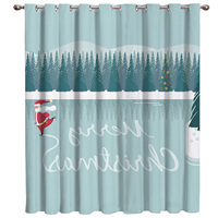 A Frozen Lake In A Winter Forest Santa Claus And The Words Merry Christmas Window Treatment Hardware Sets Curtain
