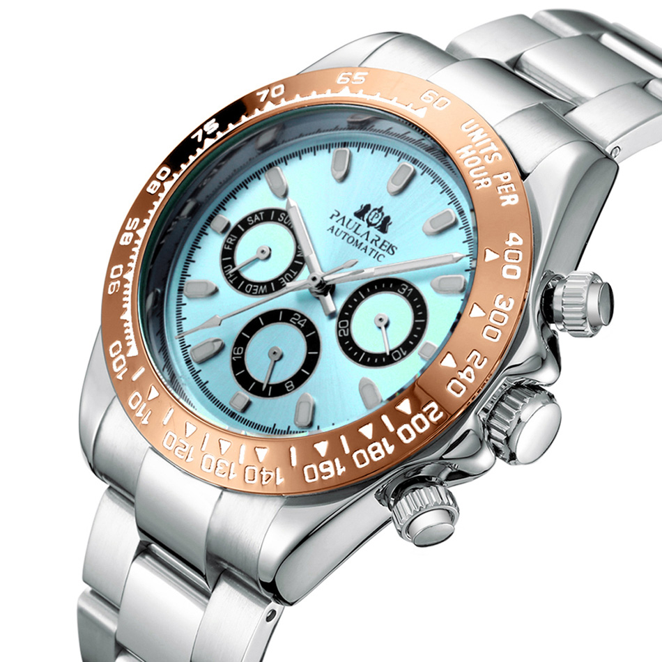 Men Automatic Watches Self Wind Mechanical Gold Stainless Steel Strap Glacier Ice Blue Dial Chestnut Brown Bezel Luminous Watch