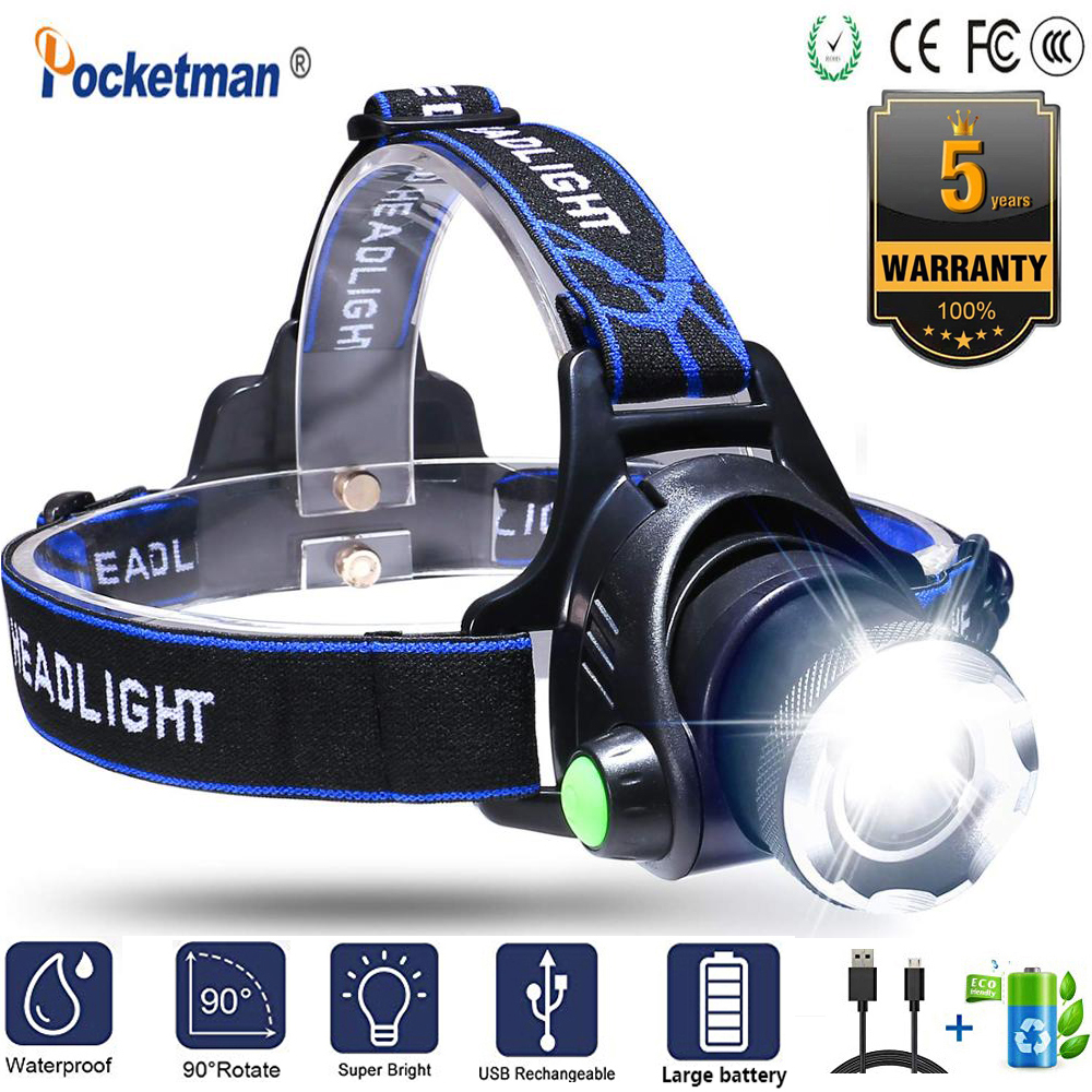 XML-L2 XM-L T6 Led Headlamp Zoomable Headlight Head Torch Motion Sensor Head Torch Head Lamp  Power By 18650 Battery For Hiking