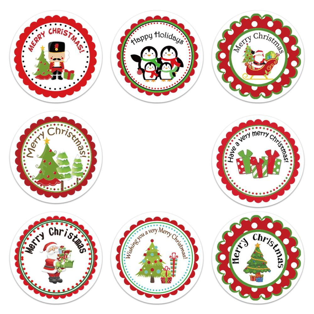 500pcs/Roll Christmas Sticker For Gift Decor Gift DIY Envelope Wrapping Decorations Scrapbooking Stickers Xmas Decorations-2
