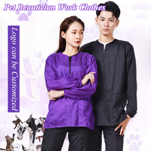 Waterproof Long Sleeve Pet Groomer Overalls Breathable Pet Beautician Work Clothes Pet Store Beauty Robe Dress Gown G0921
