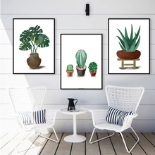 Watercolor Monstera Cactus Agave Wall Art Print Canvas Painting Nordic Posters And Prints Pictures For Living Room Decor
