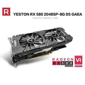 Image 2 - Yeston radeon rx 580 gpu 8gb gddr5 256bit gaming desktop computador pc vídeo placas gráficas suporte DVI D/hdmi/dp pci e x16 3.0