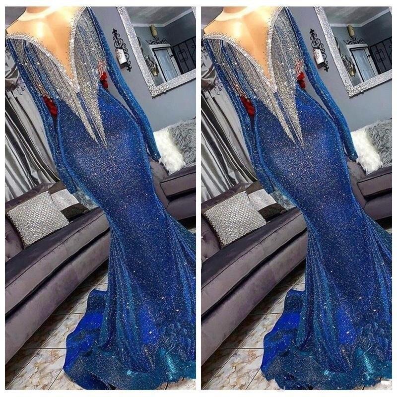 Bling manches longues robes de soirée sirène bleu rose robes de bal perles dos nu formel modeste porter pour fête sur mesure 2019
