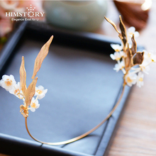 HIMSTORY Handmade Gold Leaf Flower Branch Crown Tiara Headbpieces  Evening Party Hair Accessoies Hairband Jewelry