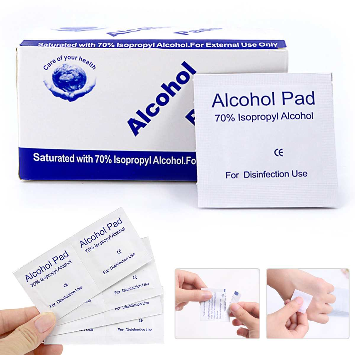200PCS 3*6cm Alcohol Wet Wipe 70% Isopropyl Antiseptic Sterilization Swabs Wipes Cleanser Antiseptic Skin Cleaning Care